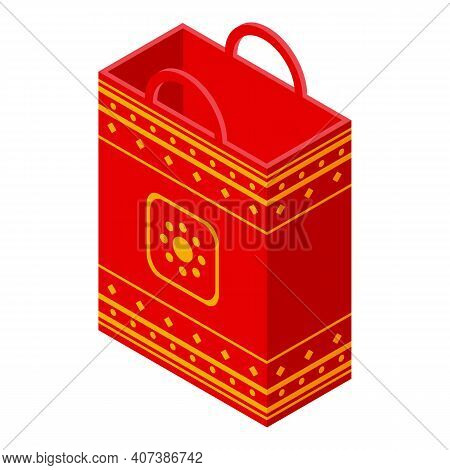Lucky Paper Bag Icon. Isometric Of Lucky Paper Bag Vector Icon For Web Design Isolated On White Back