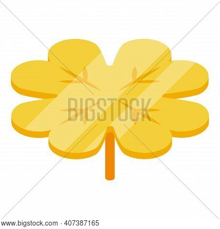 Golden Clover Icon. Isometric Of Golden Clover Vector Icon For Web Design Isolated On White Backgrou