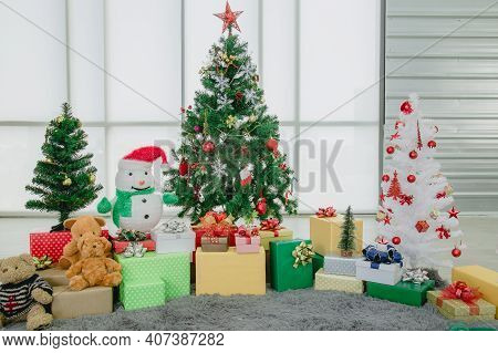 Snowmen, Christmas Trees And Lots Of Gift Box For Christmas Or New Year.