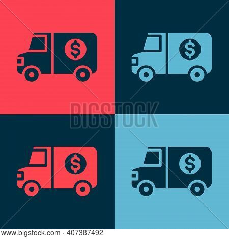 Pop Art Armored Truck Icon Isolated On Color Background. Vector