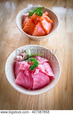 Salmon Don And Maguro Or Tuna Don Consisting Of Sliced Salmon And Maguro Or Tuna On Top Of Japanese