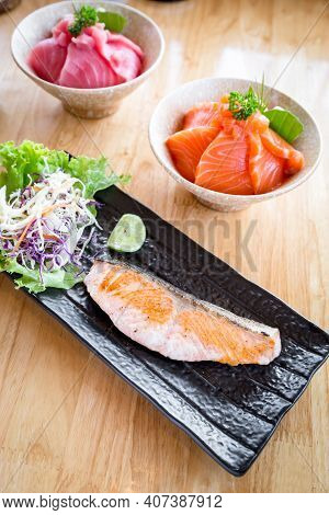 Salted Grilled Salmon And Salmon Don And Maguro Don.