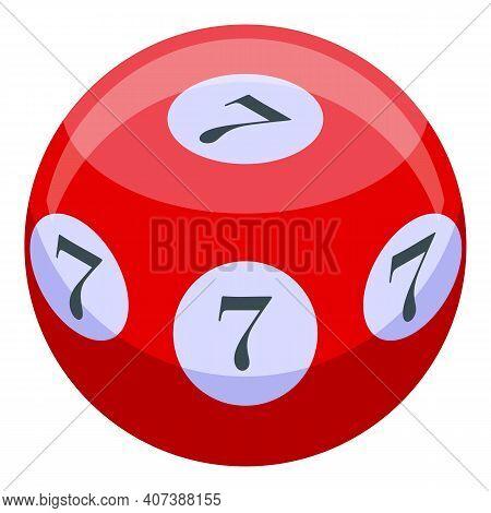 Lucky Seven Ball Icon. Isometric Of Lucky Seven Ball Vector Icon For Web Design Isolated On White Ba