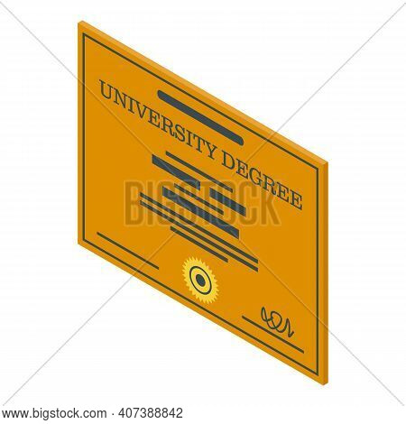 Study Degree Icon. Isometric Of Study Degree Vector Icon For Web Design Isolated On White Background