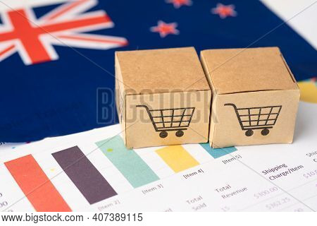 Box With Shopping Cart Logo And New Zealand Flag, Import Export Shopping Online Or Ecommerce Finance