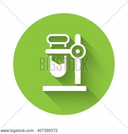 White Glass Test Tube Flask On Stand Icon Isolated With Long Shadow. Laboratory Equipment. Green Cir