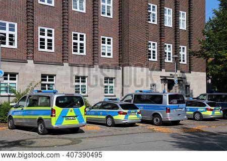 Bochum, Germany - September 17, 2020: German Police Vehicles Parked In Bochum. North Rhine-westphali