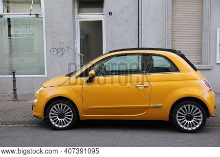 Herne, Germany - September 17, 2020: Fiat 500 Small City Car Parked In Germany. There Were 45.8 Mill