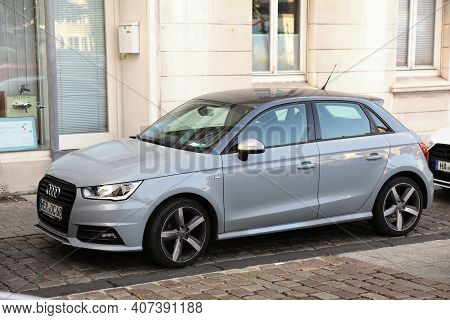 Herne, Germany - September 17, 2020: Audi A1 Small Hatchback Car Parked In Germany. There Were 45.8