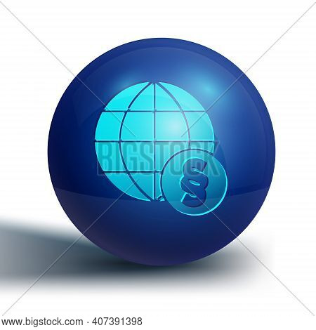 Blue International Law Icon Isolated On White Background. Global Law Logo. Legal Justice Verdict Wor