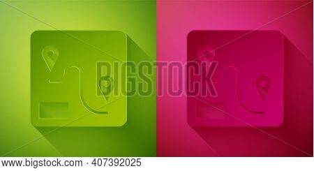 Paper Cut Route Location Icon Isolated On Green And Pink Background. Train Line Path Of Train Road R