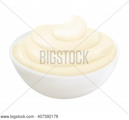 Realistic 3d Mayonnaise In Small Round Bowl. Creamy Sauce Isolated On White Background, Side View.co