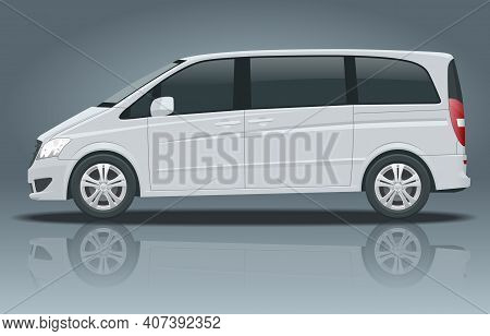 Electric Minivan With Premium Touches, Passenger Van Or Minivan Car Vector Template On White Backgro