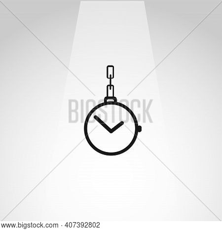 Pocket Watch With Chain Vector Icon, Pocket Watch Simple Isolated Icon
