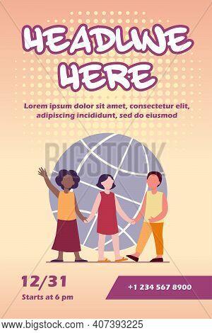 Multiethnic Kids Holding Hands. Globe In Background. World, Multinational, Friend Flat Vector Illust