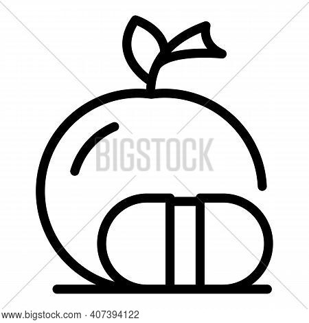 Genetic Modified Apple Icon. Outline Genetic Modified Apple Vector Icon For Web Design Isolated On W