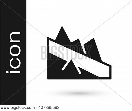 Black Mountain Descent Icon Isolated On White Background. Symbol Of Victory Or Success Concept. Vect