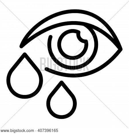 Crying Allergy Eye Icon. Outline Crying Allergy Eye Vector Icon For Web Design Isolated On White Bac