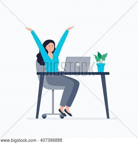 Happy Businesswoman At Work. Productivity At Work, Working At Home Or Office, Telework, Freelance. V