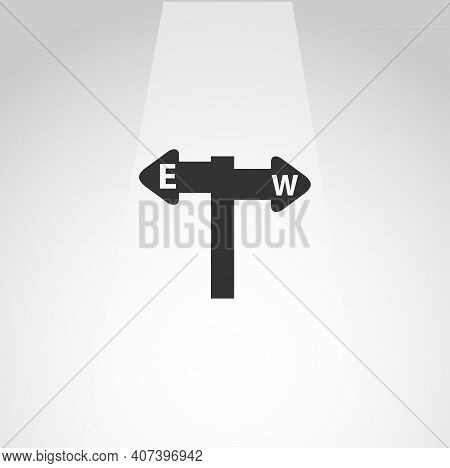 Road Signpost Icon. East West Vector Icon, Road Signpost Simple Isolated Icon