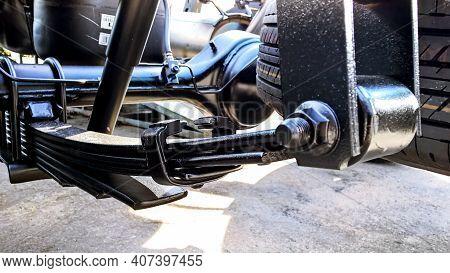 The Leaf Spring Suspension Of Pickup Car.