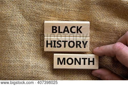 Black History Month Symbol. Wooden Blocks With Words 'black History Month'. Beautiful Canvas Backgro