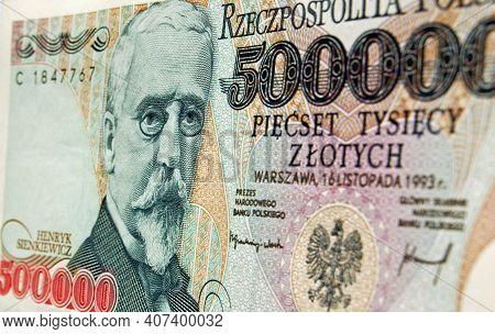 A Polish Zloty Banknote Showing The Nobel Prize Winning Writer Henryk Sienkiewicz.