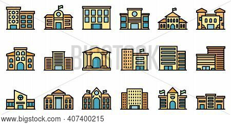 Campus Icons Set. Outline Set Of Campus Vector Icons Thin Line Color Flat On White