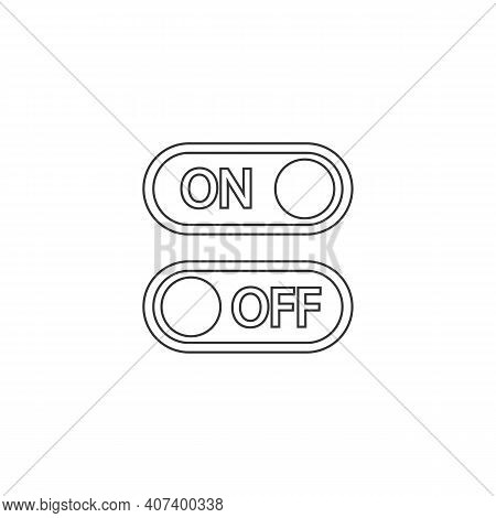 Flat Line Icon On And Off Toggle Switch Button Vector