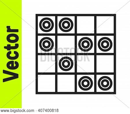 Black Line Board Game Of Checkers Icon Isolated On White Background. Ancient Intellectual Board Game