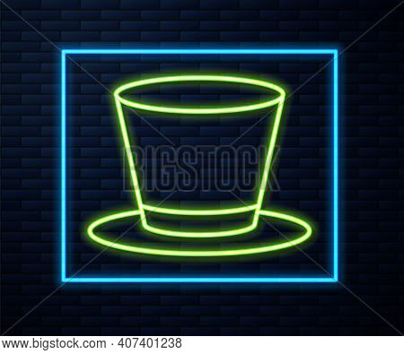 Glowing Neon Line Cylinder Hat Icon Isolated On Brick Wall Background. Vector