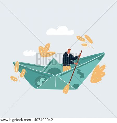 Vector Illustration Of Sail At A One Hundred Dollar Banknotes Ship On White Backround.