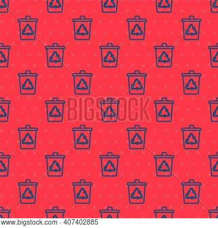 Blue Line Recycle Bin With Recycle Symbol Icon Isolated Seamless Pattern On Red Background. Trash Ca