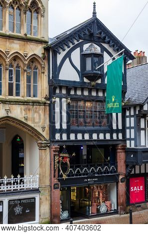 Chester; Uk: Jan 29, 2021: A Flag Promoting Watches Hangs Above The Mappin And Webb Shop Which Is On