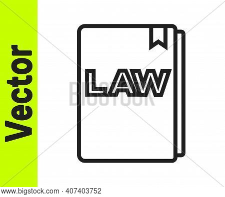 Black Line Law Book Icon Isolated On White Background. Legal Judge Book. Judgment Concept. Vector