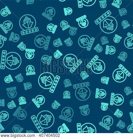 Green Line Cruise Ship Icon Isolated Seamless Pattern On Blue Background. Travel Tourism Nautical Tr