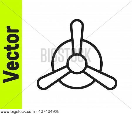 Black Line Plane Propeller Icon Isolated On White Background. Vintage Aircraft Propeller. Vector