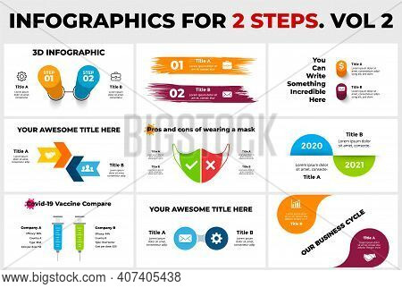 Infographics Pack For 2 Options. Presentation Templates. Covid-19 Vaccine Compare With Two Syringes.