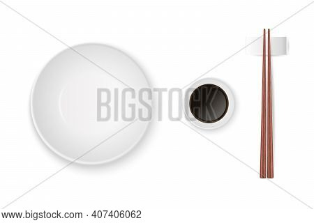 Vector 3d Realistic Bowl, Plate, Soy Sauce, Wooden Chopsticks Set Closeup Isolated. Design Template