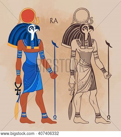 Portrait Of Ra, Egyptian God Of Sun. Most Important God In Ancient Egypt. Also Known As Amun-ra And