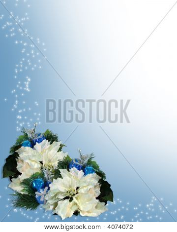 Christmas Border White Poinsettias Blue Ornaments