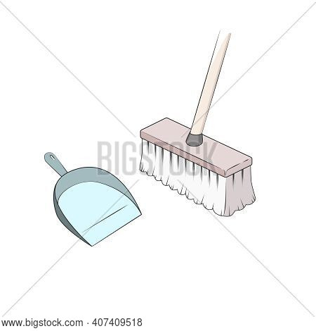 Broom And Dustpan Vector. Sweeping Floor. Cleaning Dirt And Dust. Simple Cartoon Style. Isolated Ill