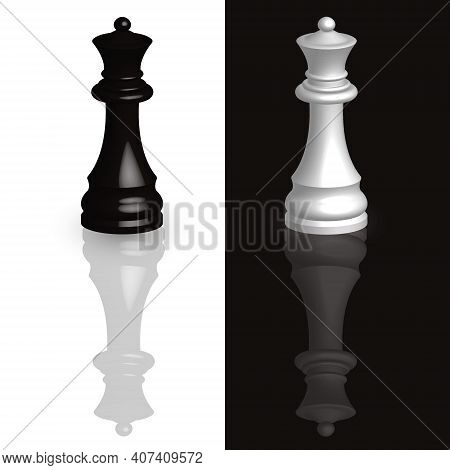 Black And White Queen Chess Piece 3d. Chess On A Black And White Background With A Mirror Image Of T