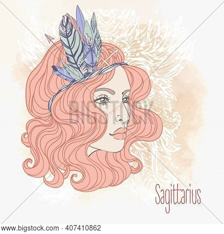 Zodiac Sagittarius Zodiac Sign As A Beautiful Girl. Vector Zodiac Illustration. Vintage Boho Style F