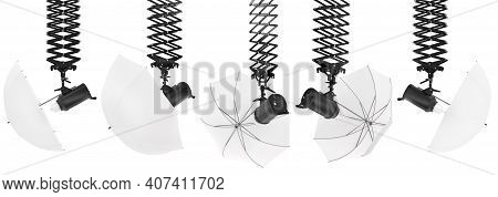 Photography Studio Flash On A Ceiling Pantograph With Umbrella Isolated On White Background With Cli