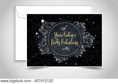Fortune Teller, Spiritual Coach, Mystic Healer Business Card Design Template. Vector Illustration.