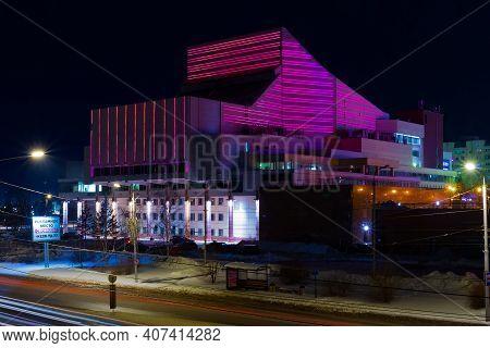 Krasnoyarsk, Russia - February 8, 2021: The Illuminated Building Of The Krasnoyarsk Regional Philhar