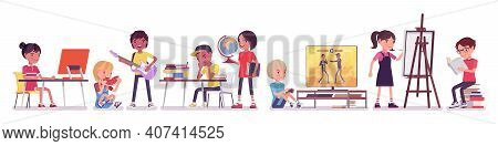 Ethnically Diverse Children Playing, Studying, Resting Indoor. Group Of Happy Kids Busy Performing A