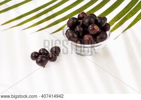 The Amazon Acai Fruit (euterpe Oleracea); Photo On A Neutral Background.