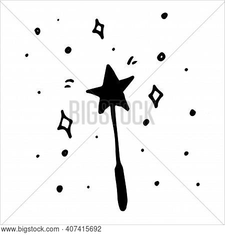Doodle Magic Wand In Doodle Style. Vector Illustration Design. Vector Background. Vector Sparkles. H